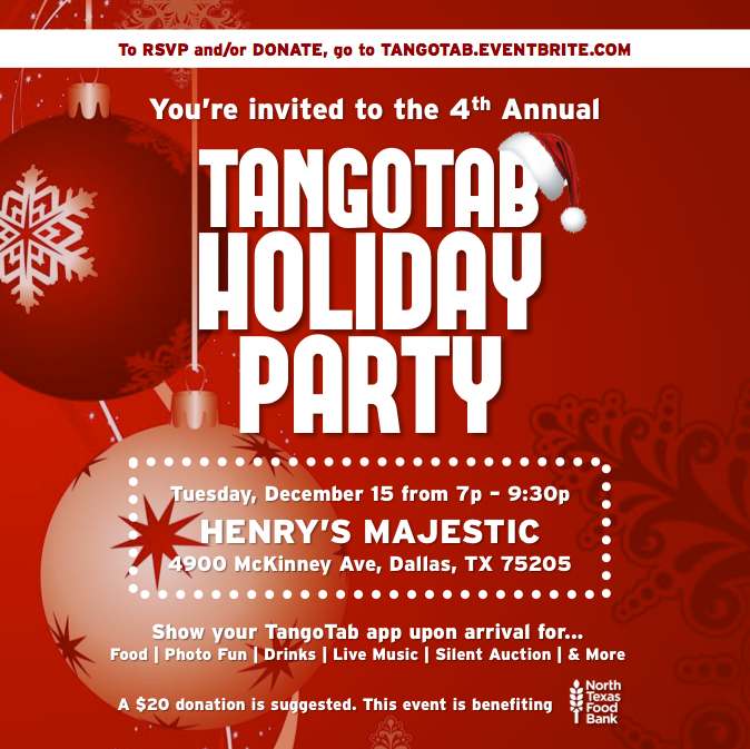 TangoTab, Henry's Majestic, holiday party, giving back